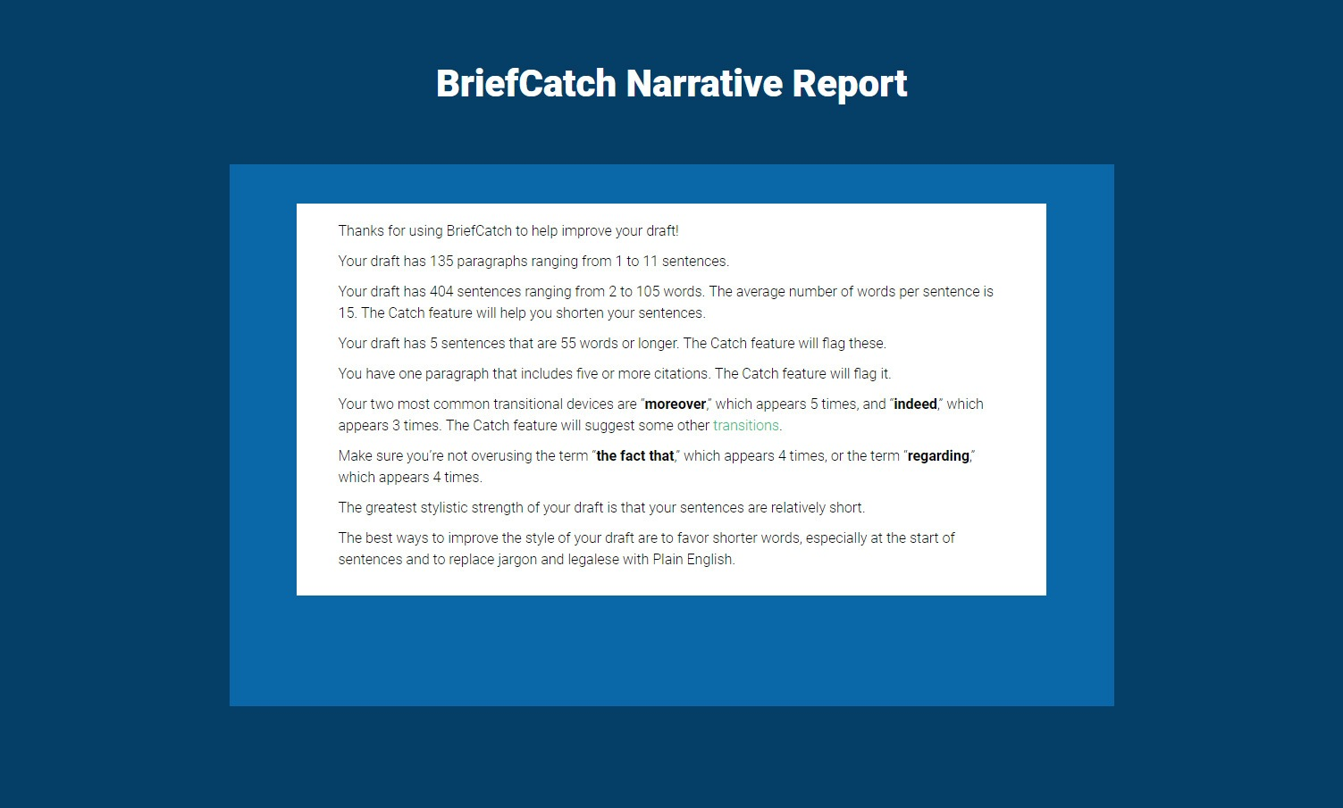 BriefCatch Preview: Narrative Report